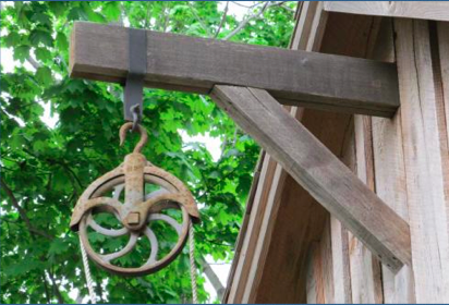 Antique Pulley and peak beam as it looks today on the May Barn. The RHA acquired the pulley on eBay for just $17!
